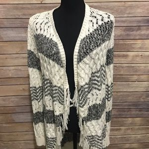INC cream & gray cardigan